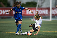 Seattle, WA - Saturday July 22, 2017: Rumi Utsugi, Sarah Killion during a regular season National Women's Soccer League (NWSL) match between the Seattle Reign FC and Sky Blue FC at Memorial Stadium.