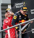 26.08.2018, Circuit de Spa-Francorchamps, Spa-Franchorchamps, FORMULA 1 2018 JOHNNIE WALKER BELGIAN GRAND PRIX, 23. - 26.08.2018<br /> , im Bild<br />Podium:<br />Sieger Sebastian Vettel (GER#5), Scuderia Ferrari, 2.Platz f&uuml;r Lewis Hamilton (GB#44), Mercedes AMG Petronas Formula One Team, 3.Platz f&uuml;r Max Verstappen (NEL#33), Aston Martin Red Bull Racing<br /> <br /> Foto &copy; nordphoto / Bratic