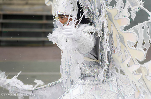"""Trinidad Carnival, Young girl performing from the band  """"Shades of White"""" by Gerard Kelly"""