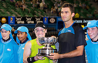 BETHANIE MATTEK-SANDS (USA) & HORIA TECAU (ROU) against ELENA VESNINA (RUS) & LEANDER PAES (IND) in the Final of the Mixed Doubles. Bethanie Mattek-Sands & Horia Tecau beat Elena Vesnina & Leander Paes 6-3 5-7 (10-3)..29/01/2012, 29th January 2012, 29.01.2012 - Day 14..The Australian Open, Melbourne Park, Melbourne,Victoria, Australia.@AMN IMAGES, Frey, Advantage Media Network, 30, Cleveland Street, London, W1T 4JD .Tel - +44 208 947 0100..email - mfrey@advantagemedianet.com..www.amnimages.photoshelter.com.