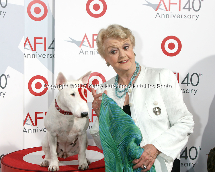Angela Lansbury & Bullseye.AFI's 40th Anniversary.ArcLight Theaters.Los Angeles,  CA.October 3, 2007.©2007 Kathy Hutchins / Hutchins Photo...               .