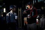 OCT 28: Jockey Flavien Prat and agent Derek Lawson at Santa Anita Park in Arcadia, California on Oct 28, 2019. Evers/Eclipse Sportswire/Breeders' Cup