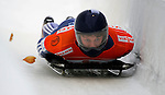 14 December 2007: Anthony Sawyer, racing for Great Britain, exits the last turn and heads for the finish line at the FIBT World Cup Skeleton Competition at the Olympic Sports Complex on Mount Van Hovenberg, at Lake Placid, New York, USA. ..Mandatory Photo Credit: Ed Wolfstein Photo