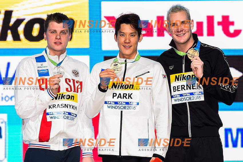 PARK Taehwan KOR Gold Medal<br /> KRASNYKH Aleksandr RUS Silver Medal<br /> BERNEK Peter HUN Bronze Medal<br /> Men's Freestyle 400m<br /> 13th Fina World Swimming Championships 25m <br /> Windsor  Dec. 6th, 2016 - Day01 Finals<br /> WFCU Centre - Windsor Ontario Canada CAN <br /> 20161206 WFCU Centre - Windsor Ontario Canada CAN <br /> Photo &copy; Giorgio Scala/Deepbluemedia/Insidefoto