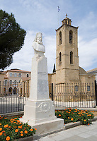 CYPRUS, capital Nicosia (Lefkosia): Agios Ioannis Cathedral (17th century) at Archibishop Kiprian&oacute;s Square. Left statue of Archbishop Kiprian&oacute;s<br />