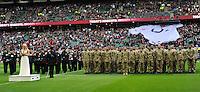 Twickenham, England. Camilla Kerslake sings the national anthems at Twickenham Stadium during the QBE Internationals England v Fiji at Twickenham Stadium on 10 November. Twickenham, England, 2012