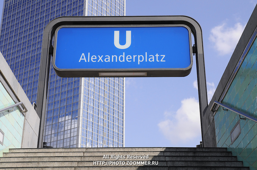 Subway station sign Alexanderplatz Berlin