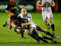 Photo: Richard Lane/Richard Lane Photography. England U20 v South Africa U20. Semi Final. 18/06/2008. South Africa's Cecil Afrika is tackled by England's Joe Simpson.
