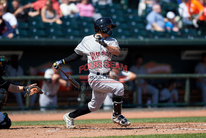 Wisconsin Timber Rattlers Jesus Lujano (7) at bat during a Midwest League game against the Great Lakes Loons at Dow Diamond on May 4, 2019 in Midland, Michigan. Great Lakes defeated Wisconsin 5-1. (Zachary Lucy/Four Seam Images)