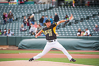 Drew Rucinski (22) of the Salt Lake Bees delivers a pitch to the plate against the Colorado Springs Sky Sox in Pacific Coast League action at Smith's Ballpark on May 22, 2015 in Salt Lake City, Utah.  (Stephen Smith/Four Seam Images)