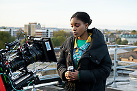 "Actress Amara Okereke on set. Behind the scenes of the ""Sucka Punch""  directed by Iggy LDN for the Uncertain Kingdom Project. Filmed on location at the Cranbrook Estate, Bethnal Green , East London"