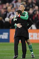 D.C. United goalkeeper Pat Onstad (20) with Head Coach Ben Olsen. File photo RFK stadium 2011 season.