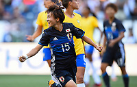Seattle, WA - Thursday July 27, 2017: Yuka Momiki celebrates her goal during a 2017 Tournament of Nations match between the women's national teams of the Japan (JAP) and Brazil (BRA) at CenturyLink Field.