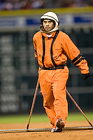 Houston Astros grounds crew on Turn Back the Clock Nite. Game played on Saturday April 10th, 2010 at Minute Maid Park in Houston, Texas.  (Photo by Andrew Woolley / Four Seam Images)