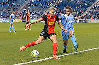 Bridgeview, IL, USA - Saturday, April 23, 2016: Western New York Flash defender Alanna Kennedy (8) and Chicago Red Stars midfielder Taylor Comeau (7) during a regular season National Women's Soccer League match between the Chicago Red Stars and the Western New York Flash at Toyota Park. Chicago won 1-0.