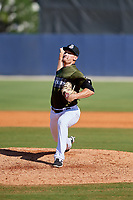 Biloxi Shuckers relief pitcher Nate Griep (24) delivers a pitch during a game against the Jacksonville Jumbo Shrimp on May 6, 2018 at MGM Park in Biloxi, Mississippi.  Biloxi defeated Jacksonville 6-5.  (Mike Janes/Four Seam Images)