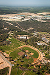 Amador County during spring from the air..Howard Park ball fields