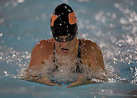 Feb 22, 2015; Whittier, CA, USA; Gabby Hanna of Occidental College competes in the women's 200-yard breaststroke at the SCIAC swimming championships at Whittier College. Photo by Kirby Lee