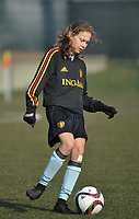 20180221 - TUBIZE , BELGIUM : Belgian Jarne Teulings pictured during the friendly female soccer match between Women under 17 teams of  Belgium and Czech Republic , in Tubize , Belgium . Wednesday 21th February 2018 . PHOTO SPORTPIX.BE / DIRK VUYLSTEKE