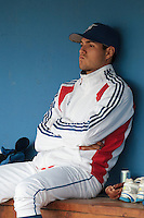 24 july 2010: Starting pitcher Joris Navarro of France is seen in the dugout prior to Netherlands 10-0 victory over France, in day 2 of the 2010 European Championship Seniors, in Neuenburg, Germany.