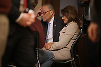 WASHINGTON, DC - JANUARY 08: Speaker of the House Nancy Pelosi (D-CA) and Senate Minority Leader Charles Schumer (D-NY) watch a recording of their televised response to President Donald Trump's national address about border security at the U.S. Capitol January 08, 2019 in Washington, DC. Republicans and Democrats seem no closer to an agreement on security along the southern border and ending the partial federal government shutdown, the second-longest in history. <br /> CAP/MPI/RS<br /> &copy;RS/MPI/Capital Pictures