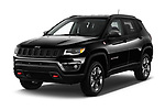 2017 Jeep New Compass Trailhawk 5 Door SUV angular front stock photos of front three quarter view