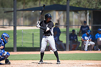 Chicago White Sox third baseman Lenyn Sosa (13) at bat in front of catcher Chase Vallot (3) during an Instructional League game against the Kansas City Royals at Camelback Ranch on September 25, 2018 in Glendale, Arizona. (Zachary Lucy/Four Seam Images)