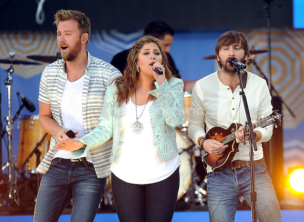 New York, NY- May 23: Charles Kelley, Hillary Scot and Dave Haywood of Lady Antebellum performs on Good Morning America in Central Park at Rumsey Playfield as part of the GMA 2014 Summer Concert Series on May 23, 2014 in New York City. Credit: John Palmer/MediaPunch