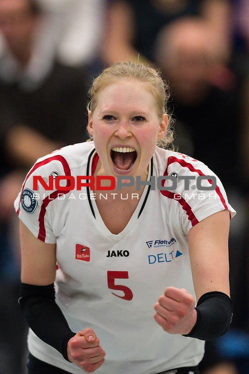 21.02.2015, Halle Berg Fidel, Muenster<br /> Volleyball, Bundesliga Frauen, USC M&uuml;Ÿnster / Muenster vs. Rote Raben Vilsbiburg<br /> <br /> Jubel Quirine Oosterveld (#5 Vilsbiburg)<br /> <br />   Foto &copy; nordphoto / Kurth