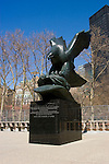 New York City, New York: Naval war casualties sculpture of eagle in Battery Park, lower Manhattan, recalling service of fallen 1941-1945.  .Photo #: ny228-14668  .Photo copyright Lee Foster, www.fostertravel.com, lee@fostertravel.com, 510-549-2202.