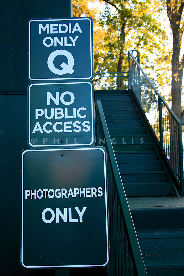 Photographers access to grandstand sign   during practice thursday of the 39th Ryder Cup matches, Medinah Country Club, Chicago, Illinois, USA.  28-30 September 2012 (Picture Credit / Phil Inglis)