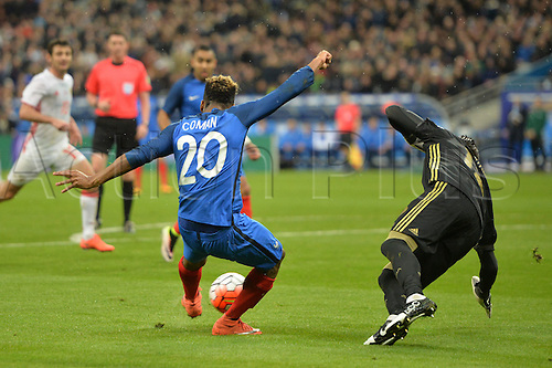 229.03.2016. Stade de France, Paris, France. International football friendly. France versus Russia.  Kingsley Coman cuts back and beats substitute keeper Yury Lodygin to score in the 76th minute for 4-1