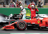Lewis HAMILTON (GBR) (MERCEDES-AMG PETRONAS MOTORSPORT) and Charles LECLERC (FRA) (SCUDERIA FERRARI) during the Formula 1 Rolex British Grand Prix 2019 at Silverstone Circuit, Towcester, England on 14 July 2019. Photo by Vince  Mignott.