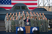 United States President Donald J. Trump delivers remarks to military personnel and families in a hanger at Joint Base Andrews in Maryland on Friday, September 15, 2017.  He visited JBA to commemorate the 70th anniversary of the US Air Force.  In the background behind the group is a B-2 Stealth Bomber.<br /> Credit: Ron Sachs / CNP