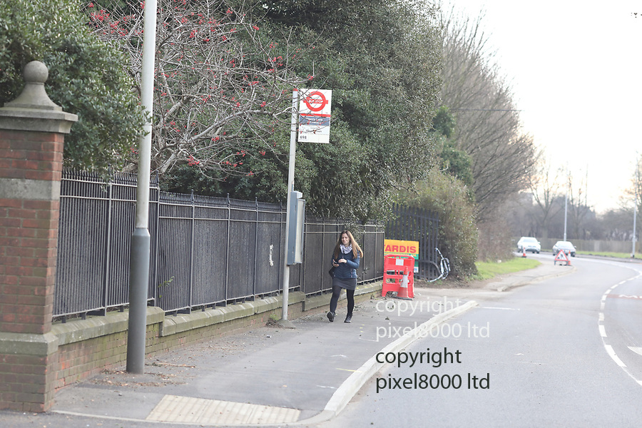 pix shows: Crash scene today in Hayes where three teens died on Friday night. <br /> <br /> Bus stop near Esso garage on  Shepiston Lane -<br /> <br /> scrapes can been seen on the wall and a brick pillar was destroyed  <br /> <br /> <br /> <br /> Pic by Gavin Rodgers/Pixel8000 Ltd