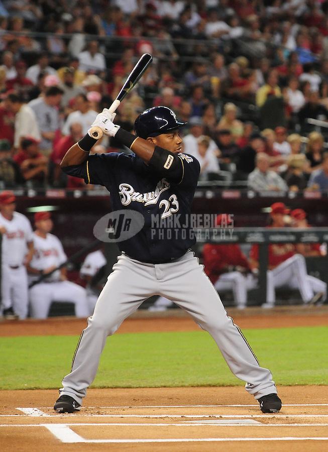 Jun. 30, 2008; Phoenix, AZ, USA; Milwaukee Brewers second baseman Rickie Weeks against the Arizona Diamondbacks at Chase Field. Mandatory Credit: Mark J. Rebilas-