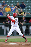 Peoria Chiefs outfielder Ronald Castillo (47) at bat during a game against the Kane County Cougars on June 2, 2014 at Dozer Park in Peoria, Illinois.  Peoria defeated Kane County 5-3.  (Mike Janes/Four Seam Images)