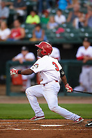 Peoria Chiefs second baseman Darren Seferina (3) at bat during a game against the Wisconsin Timber Rattlers on August 21, 2015 at Dozer Park in Peoria, Illinois.  Wisconsin defeated Peoria 2-1.  (Mike Janes/Four Seam Images)