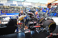 Mar. 30, 2012; Las Vegas, NV, USA: NHRA crew members for top fuel dragster driver Antron Brown during qualifying for the Summitracing.com Nationals at The Strip in Las Vegas. Mandatory Credit: Mark J. Rebilas-