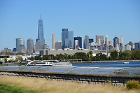 The New York skyline from #10 during round 1 foursomes of the 2017 President's Cup, Liberty National Golf Club, Jersey City, New Jersey, USA. 9/28/2017.<br /> Picture: Golffile | Ken Murray<br /> ll photo usage must carry mandatory copyright credit (&copy; Golffile | Ken Murray)