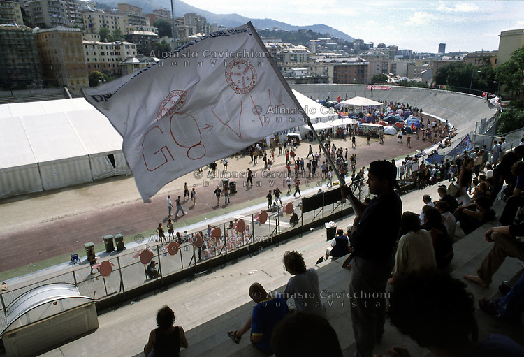 19 LUG 2001 Genova: vertice G8, controvertice Genoa Social Forum. lo stadio Carlini.JUL 19 2001 Genoa: G8 Summit, anti summit Genoa Social Forum, the Carlini stadium