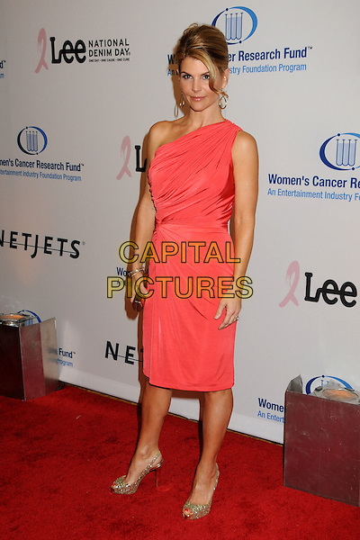 LORI LOUGHLIN.EIF's Women's Cancer Research Fund Benefit held at the Beverly Wilshire Hotel, Beverly Hills, California, USA..January 27th, 2010.full length sleeveless dress pink one shoulder clutch bag sparkly silver shoes.CAP/ADM/BP.©Byron Purvis/AdMedia/Capital Pictures.