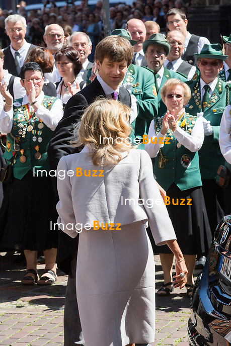 Mariage du Prince Ernst junior de Hanovre et de Ekaterina Malysheva &agrave; l'&eacute;glise Markkirche &agrave; Hanovre.<br /> Allemagne, Hanovre, 8 juillet 2017.<br /> Wedding of Prince Ernst Junior of Hanover and Ekaterina Malysheva at the Markkirche church in Hanover.<br /> Germany, Hanover, 8 july 2017<br /> Pic :  Prince Ernst Junior of Hanover &amp; his mother  Chantal Hochuli
