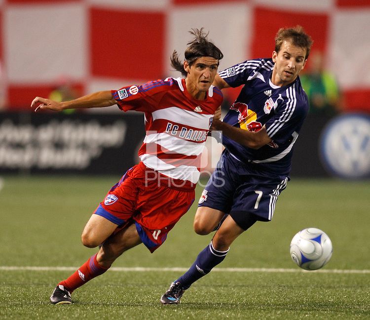 FC Dallas midfielder Pablo Ricchetti (6) and New York Red Bulls forward Mike Magee (7). The New York Red Bulls defeated FC Dallas 1-0 during a Major League Soccer match at Giants Stadium in East Rutherford, NJ, on June 21, 2008.