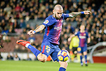 Aleix Vidal of FC Barcelona attempts a kick during the La Liga 2017-18 match between FC Barcelona and Deportivo La Coruna at Camp Nou Stadium on 17 December 2017 in Barcelona, Spain. Photo by Vicens Gimenez / Power Sport Images