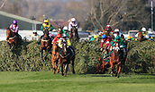 14h April 2018, Aintree Racecourse, Liverpool, England; The 2018 Grand National horse racing festival sponsored by Randox Health, day 3; Horses jump The Chair fence in The Grand National