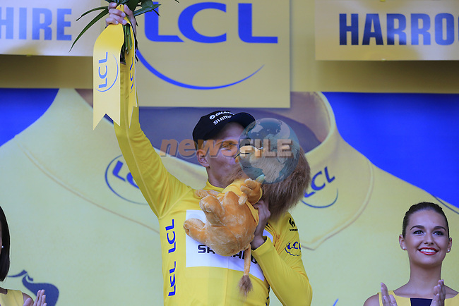 Marcel Kittel (GER) Team Giant-Shimano wins Stage 1 and wears the 1st leader's Yellow Jersey at the end of the 2014 Tour de France running 190.5km from Leeds to Harrogate. 5th July 2014.<br /> Picture: Eoin Clarke www.newsfile.ie