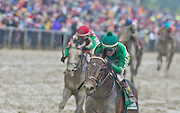 BALTIMORE, MD - MAY 21: Exaggerator #5, ridden by Kent Desormeaux, wins the Preakness Stakes at Pimlico Race Course on May 21, 2016 in Baltimore, Maryland. (Photo by Scott Serio/Eclipse Sportswire/Getty Images)