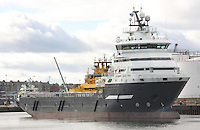 Oil Supply ship Olympic Electra manoeuvring in Aberdeen Harbour.