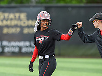 NWA Democrat-Gazette/CHARLIE KAIJO Northside High School Cailin Massey (3) reacts after running to first during the 6A State Softball Tournament, Thursday, May 9, 2019 at Tiger Athletic Complex at Bentonville High School in Bentonville. Rogers Heritage High School lost to Northside High School 8-6